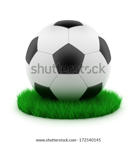 The 3rd illustration of a soccerball on a green lawn - stock photo