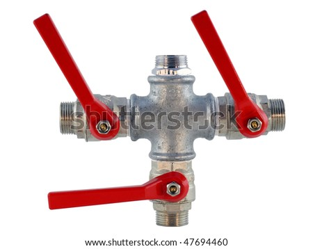 The real connected pipes and valves for water allocation. Isolated on white with clipping path. Mass production. - stock photo