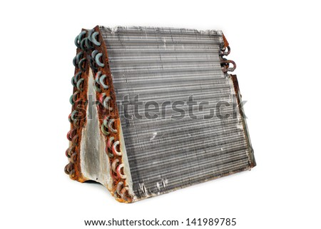 The rear angle of an old A-frame evaporator coil taken from a 2.5-ton residential r22 straight capillary system. - stock photo