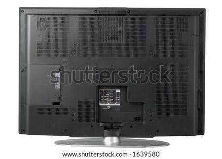 The rear view of a high end LCD television - stock photo
