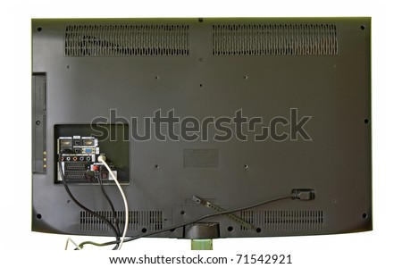 The rear view of a lcd television. Backside of the modern TV. The back of the TV isolated on a white background. LED television with connectors on the back. LED TV with cable behind. Back side of TV.. - stock photo