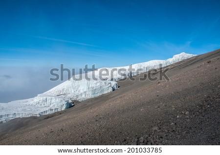 The Rebmann Glacier, Kilimanjaro - stock photo