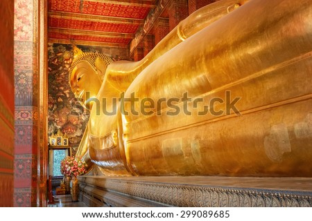 The Reclining Buddha at Wat Pho (Pho Temple) in Bangkok, Thailand   - stock photo