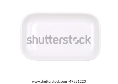 The rectangular white dish isolated on white