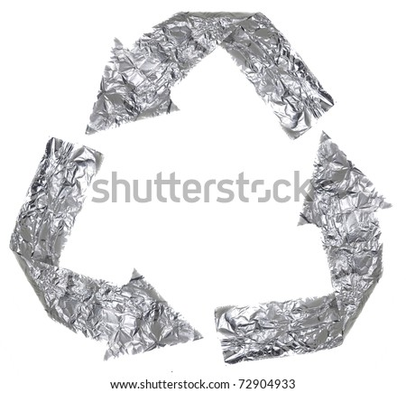 The recycle symbol made out of aluminium - stock photo