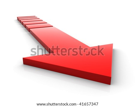 The red abstract arrow leaving in infinity - stock photo