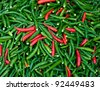 The Red and green chili background texture - stock photo