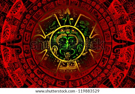 The red and green Mayan calendar predicting  apocalypse on the year 2012 - stock photo