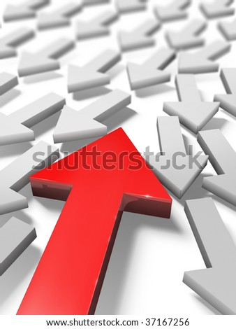 the red arrow which makes the way through other arrows - stock photo