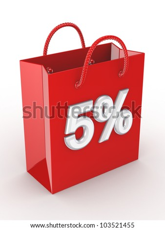 """The red bag labeled """"5%"""".Isolated on white background.3d rendered. - stock photo"""
