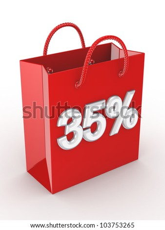 """The red bag labeled """"35%"""".Isolated on white background.3d rendered. - stock photo"""