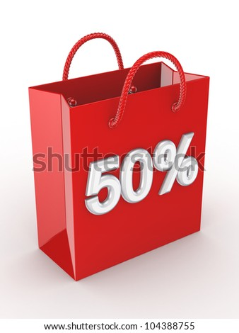 """The red bag labeled """"50%"""".Isolated on white background.3d rendered. - stock photo"""