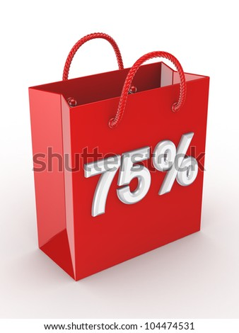 """The red bag labeled """"75%"""".Isolated on white background.3d rendered. - stock photo"""