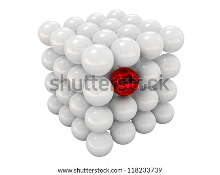 The red ball in a group of white balls - stock photo