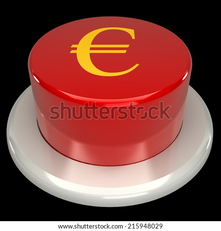 The red button, the euro, isolated on a black background 3d