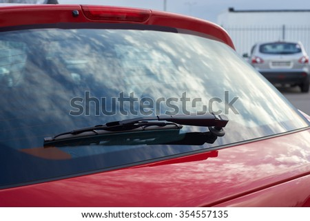 The red car rear wipers