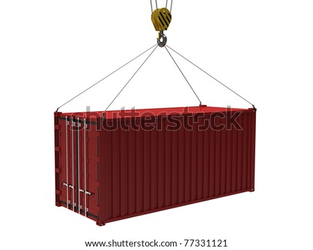 The red cargo container with a hook on a white background - stock photo