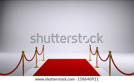 The red carpet. Gray background. 3d rendering - stock photo
