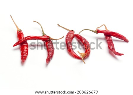 The Red Chili Pepper HOT word shape isolated on white background - stock photo