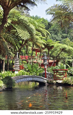 The red Chinese-style pavilions and a wonderful bridge over a pond with goldfish. Lovely park on the island of Madeira -  Monte Palace Tropical Garden - stock photo