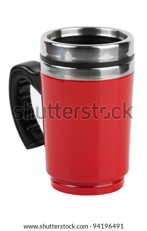 The red cup - thermos with black handle on white background - stock photo