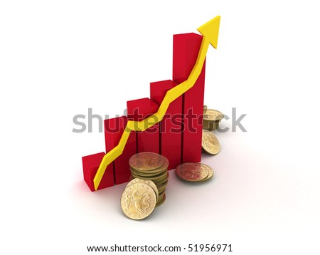 The red Diagram of growth of profit and gold coins