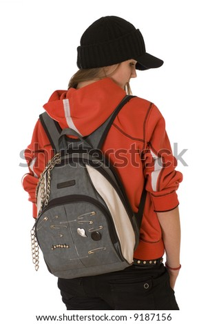 The red dressed teenage girl with grey bag is turning her back .