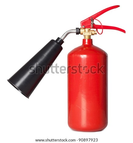 The red fire extinguisher on the isolated white background - stock photo