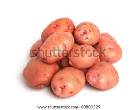 the red french miniature potatoes isolated on white - stock photo