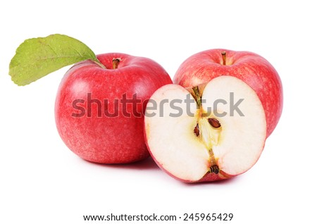 The red fresh apples isolated on white - stock photo