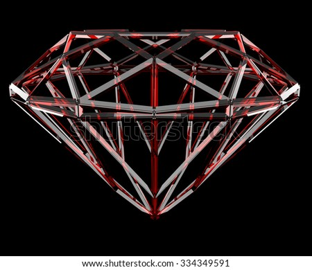 The red geometrical shape of the diamond lattice, clipping path - stock photo