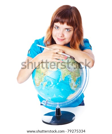 The red-haired girl with globe. Isolated on white background