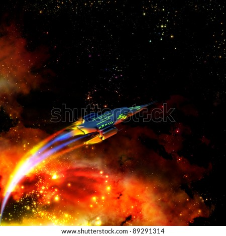 The red-hot spaceship is speeding up its movement and keeping away from a dangerous nebula - stock photo