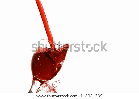 The red Juice splash isolated on white