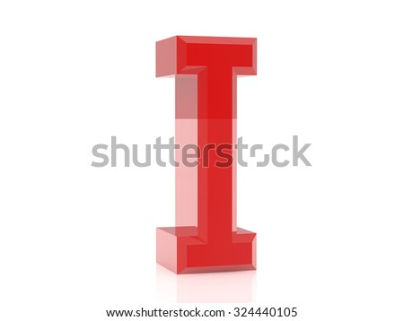 the red letter I on white background 3d rendering