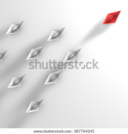 The red paper boat paves the way for white boats. Metaphor of followers and leader. Aerial view. - stock photo