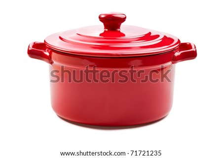 the red pot with cover - stock photo