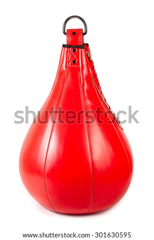 The red punching bag isolated on a white background. - stock photo