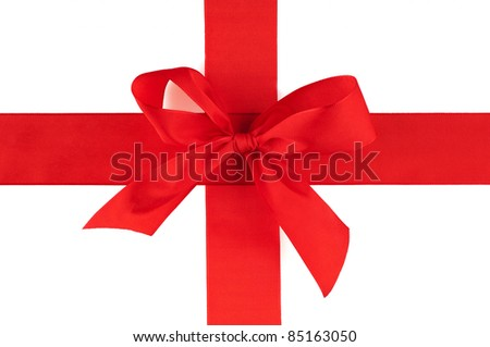 The red ribbon an a white background - stock photo