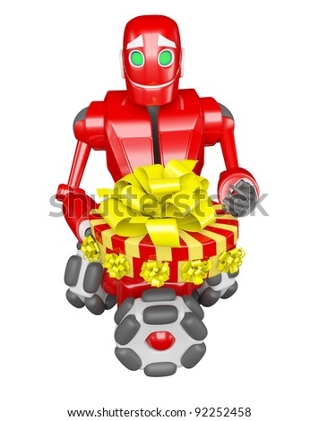 The red robot gives a good gift