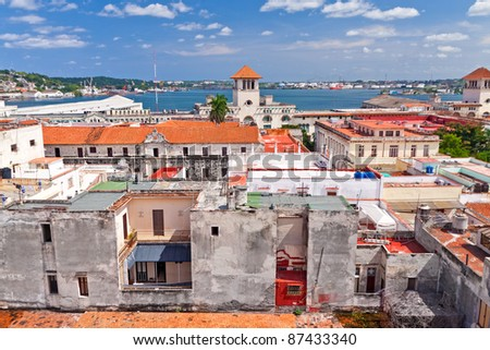 The red roofs of historical Old Havana - stock photo