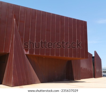 The red rust corten steel acca building in Melbourne in Victoria in Australia Photo taken on 3 december 2013 - stock photo