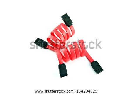 The Red SATA cable on the white background. - stock photo