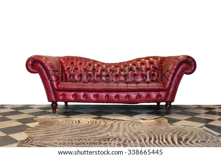 The red sofa, isolated on white background - stock photo