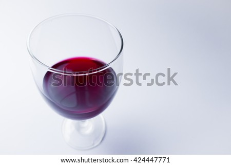 The red wine in the glass