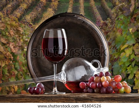 the red wine with vineyard on background