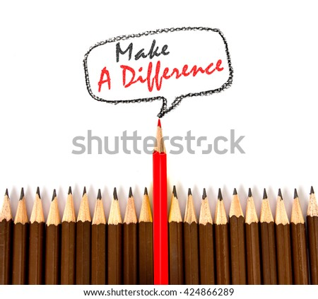 the red  wooden pencil arrange  with make a difference concept - stock photo