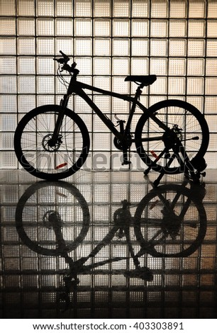 The reflection of bicycle.