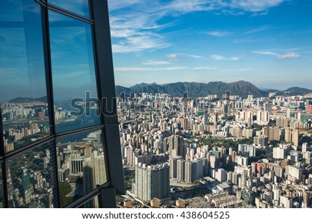 The reflection of Hong Kong cityscape - stock photo