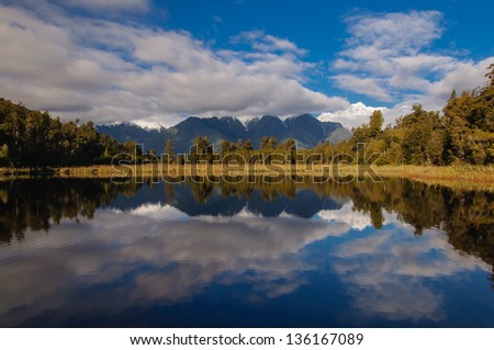 The reflection of Mount Cook and Tasman in the lake Matheson